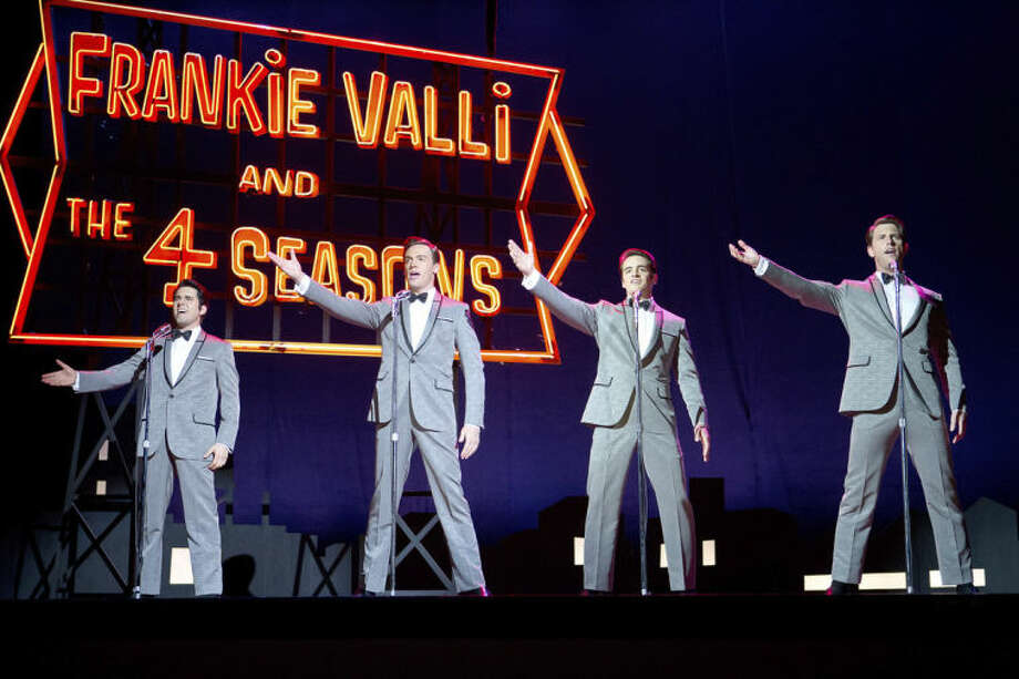 """This image released by Warner Bros. Pictures shows John Lloyd Young, Erich Bergen Vincent Piazza and Michael Lomenda in a scene from """"Jersey Boys."""" (AP Photo/Warner Bros. Pictures, Keith Bernstein)"""