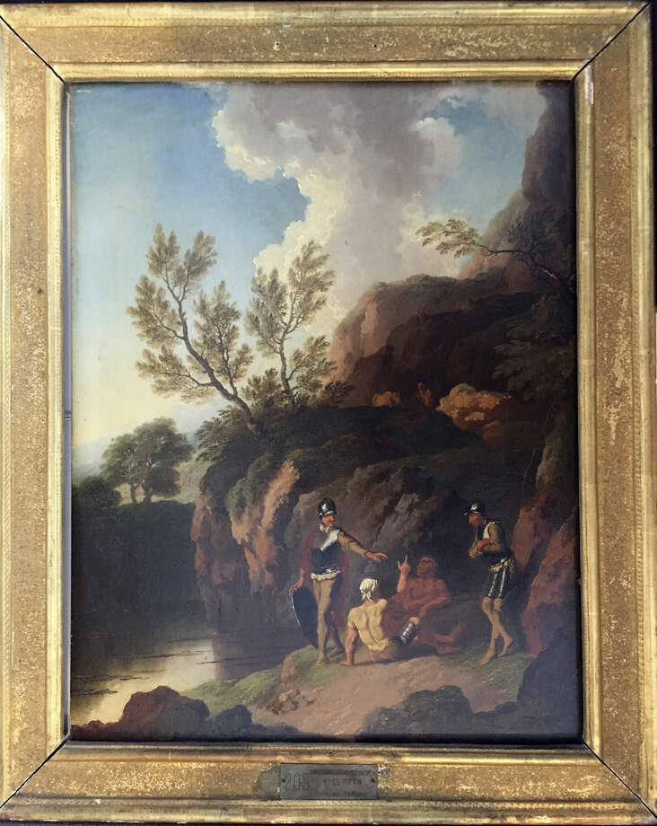 """This image provided by the Monuments Men Foundation shows Christian Wilhelm Ernst Dietrich's oil on panel titled """"Rocky Landscape with Trees and Water in the Foreground."""" The painting, one of five missing since World War II, are being returned to collections in Germany at the behest of the heirs of their American acquirers. The painting was won by an American GI in a poker game and had been stored in a potassium mine for safekeeping during the war are from an art gallery in the central German city of Dessau. The GI then mailed the painting home to his wife. (Anna Bottinelli/Monuments Men Foundation via AP)"""