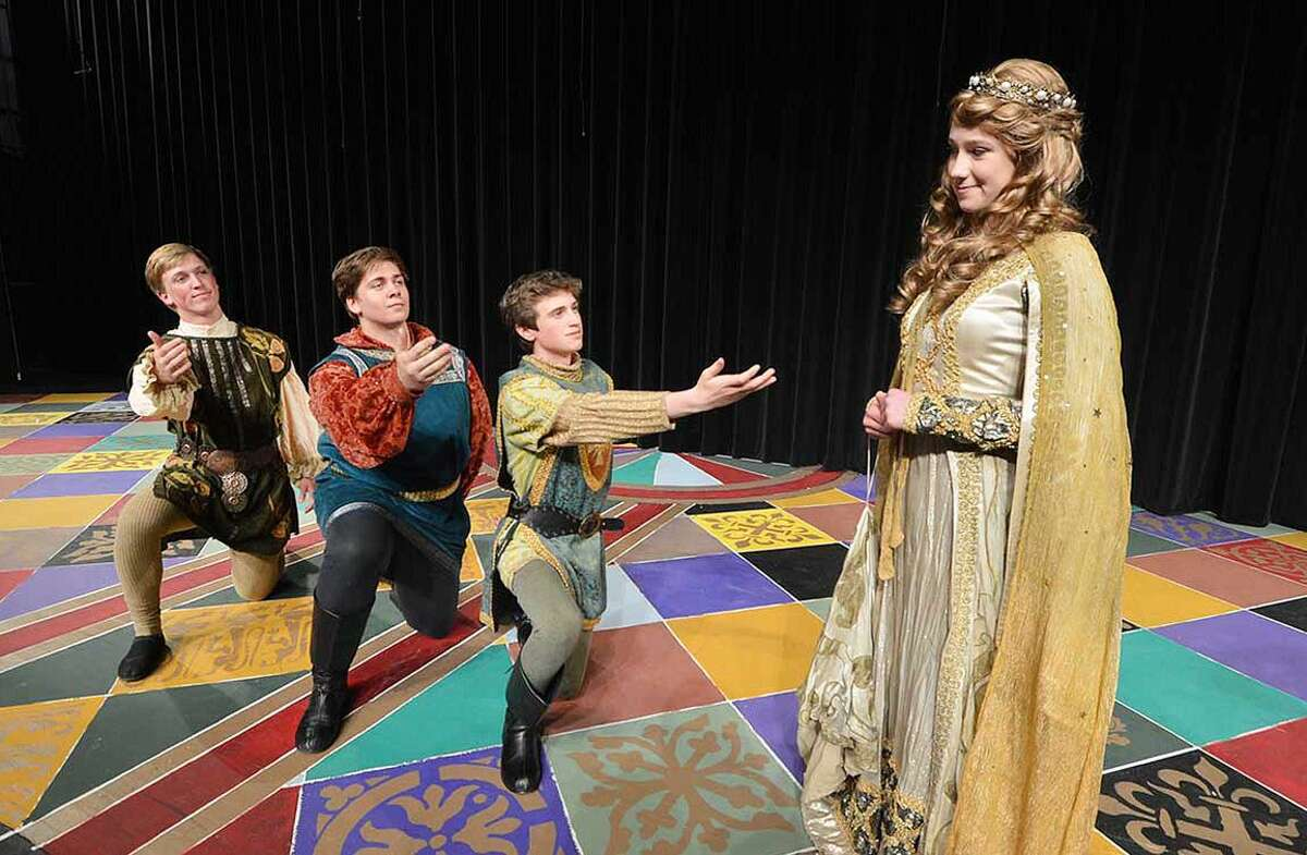 When the Knights of the Round Table (l-r) Steffen Nobles, Charlie Jankowski, Kevin Collins are challenged to joust with Lancelot, Guinevere gives them her favor.