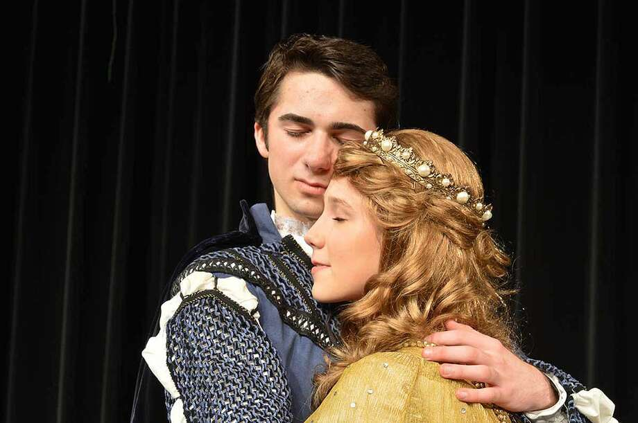 Hour Photo/Alex von Kleydorff Lancelot (Daniel Glynn) and Guinevere (Caitlin Witty), devoted to Arthur but deeply in love