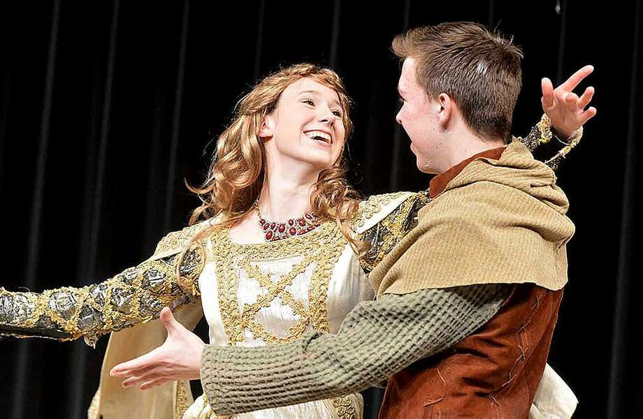 "Hour Photo/Alex von Kleydorff Guinevere (Caitlin Witty) and King Arthur (Griffin King) wonder ""What do the Simple Folk Do?"""
