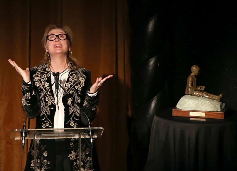 Actress Meryl Streep accepts the 2014 Monte Cristo Award at the Edison Ballroom, on Monday, April 21, 2014, in New York. (Photo by Luiz C. Ribeiro/Invision/AP)