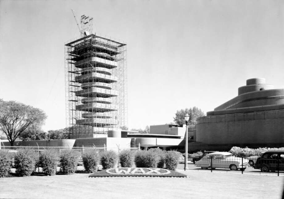 This undated photo provided by SC Johnson shows construction of the Research Tower designed by Frank Lloyd Wright for home products giant SC Johnson in Racine, Wis. The company is opening the building for public tours for the first time starting May 2. (AP Photo/Courtesy SC Johnson)