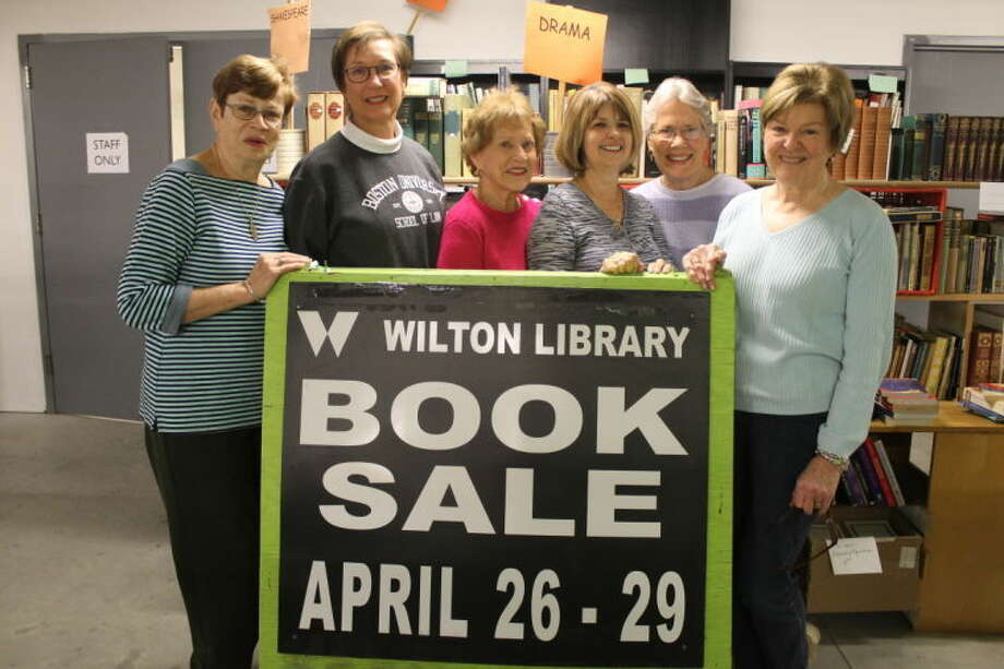 The Wilton Library's Annual Gigantic Book Sale Fundraiser runs from Saturday, April 26 through Tuesday, April 29 with more than 75,000 items on sale. Pictured left to right are: Jan Galletly, Joan Roman, Lila Griswold, Janet Zuckerman, Jan MacEwen and Pat Gould.