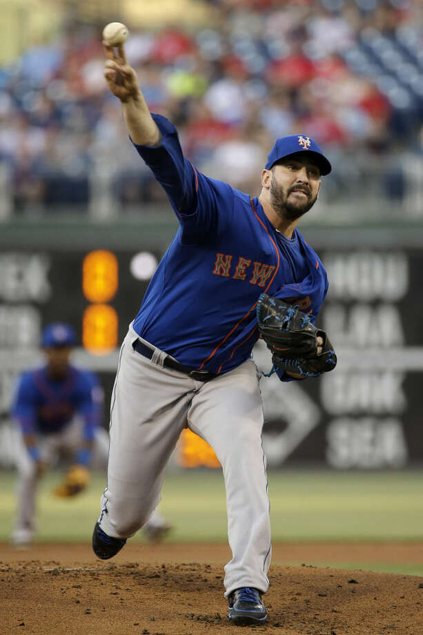 New York Mets' Matt Harvey pitches during the first inning of a baseball game against the Philadelphia Phillies, Friday, May 8, 2015, in Philadelphia. (AP Photo/Matt Slocum)