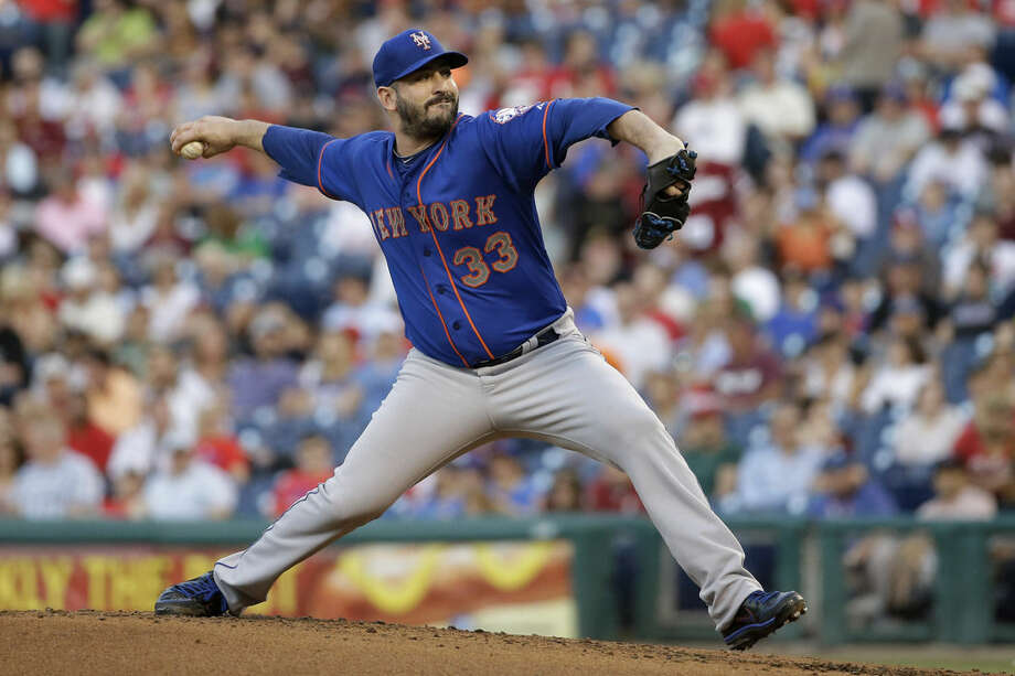 New York Mets' Matt Harvey pitches during the second inning of a baseball game against the Philadelphia Phillies, Friday, May 8, 2015, in Philadelphia. (AP Photo/Matt Slocum)