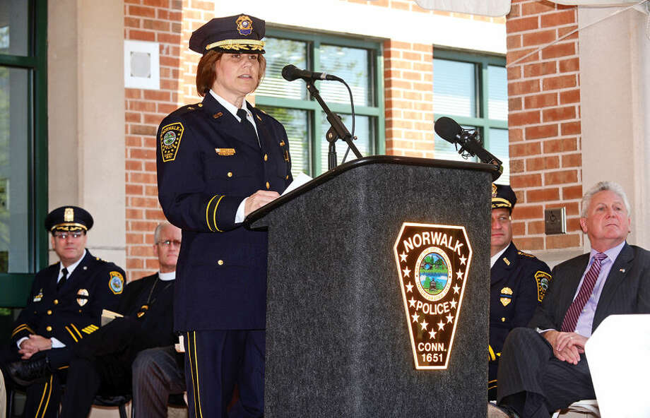 Hour photo / Erik Trautmann Deputy Chief Susan Zecca during the annual Norwalk Police Department Police Memorial Service Friday at police headquarters.