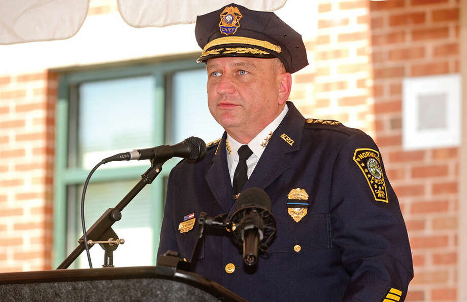 Hour photo / Erik Trautmann Norwalk Police Chief Thomas Kulhawik makes his remarks during the annual Norwalk Police Department Police Memorial Service Friday at police headquarters.