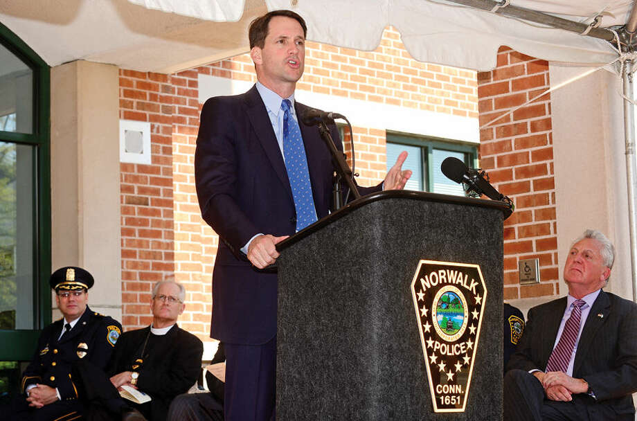 Hour photo / Erik Trautmann US Congressman Jim Himes speaks during the annual Norwalk Police Department Police Memorial Service Friday at police headquarters.