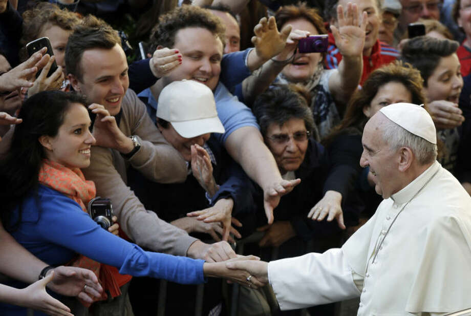 Pope Francis arrives outside at Sant' Ignazio church to celebrate a mass of thanksgiving for the Canonization of St. Jose de Anchieta, a Spanish Jesuit Missionary to Brazil, in Rome Thursday, April 24, 2014. (AP Photo/Gregorio Borgia)