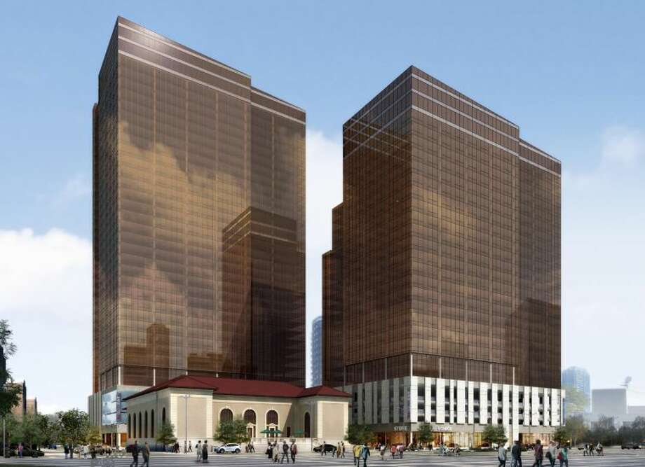 Contributed renderingReal estate developers are proposing to convert the former post office on Atlantic Street into a retail center as part of a plan to construct two high-rise apartment complexes on the building's block.