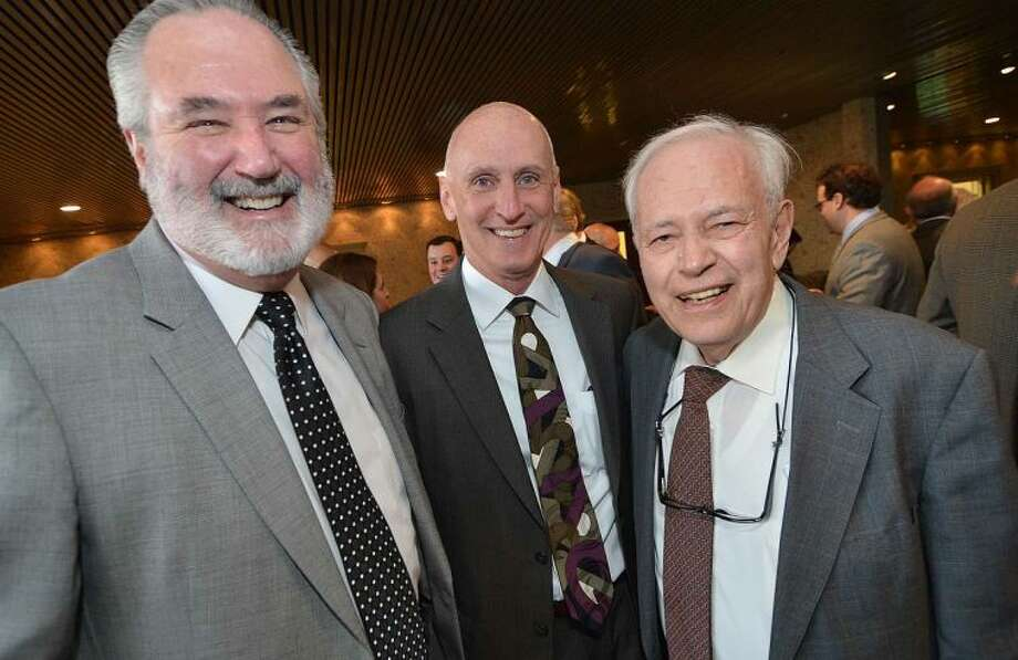 Hour Photo/Alex von Kleydorff Rocky Cingari enjoys a laugh with Tom Heide and Bob Gianoga at the Giuseppe Garibaldi Award Dinner Dance