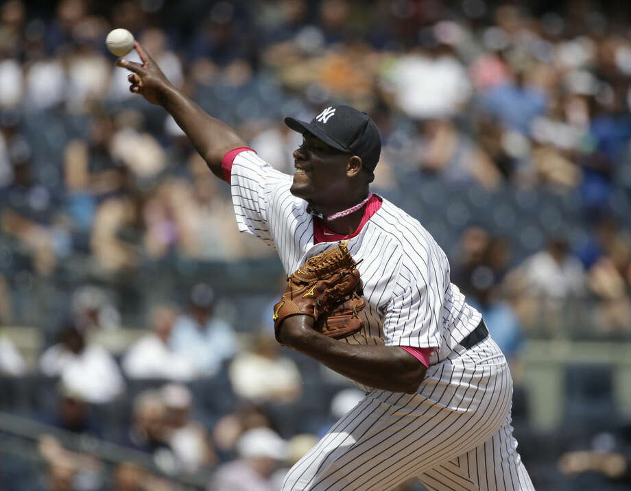 New York Yankees starting pitcher Michael Pineda throws during the first inning of the baseball game against the Baltimore Orioles at Yankee Stadium, Sunday, May 10, 2015 in New York. (AP Photo/Seth Wenig)