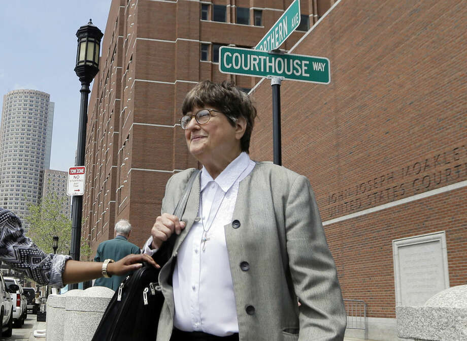 Death penalty opponent Sister Helen Prejean leaves federal court in Boston after testifying during the penalty phase in Dzhokhar Tsarnaev's trial, Monday, May 11, 2015. Tsarnaev was convicted of the Boston Marathon bombings that killed three and injured 260 people in April 2013. Tsarnaev's lawyers rested their case Monday in their bid to save him from execution after Prejean testified that Tsarnaev expressed genuine sorrow about the victims of the bombing. (AP Photo/Elise Amendola)