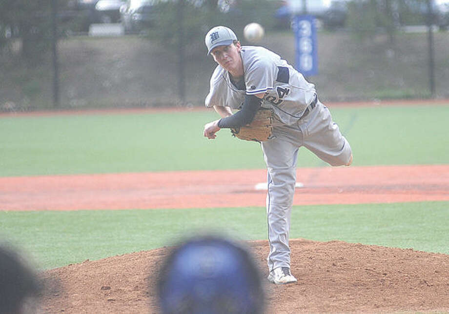 JT Morin, Wilton starting pitcher against Darien on Monday. Hour photo/Matthew Vinci