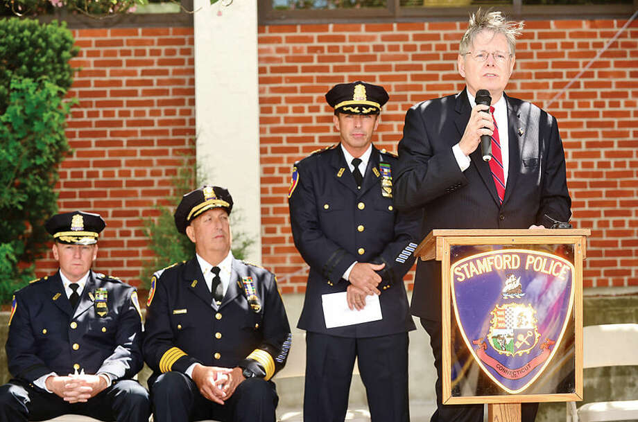 Hour photo / Erik Trautmann Mayor David Martin gives his remarks as The Stamford Police Department holds their annual memorial service Wednesday morning to honor those officers who died in the line of duty.