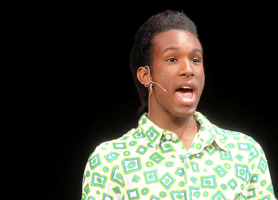 "Jahkel Robin as Seaweed Tuesday night in a dress rehearsal for ""Hairspray"" at Norwalk High School. Hour photo/Matthew Vinci"