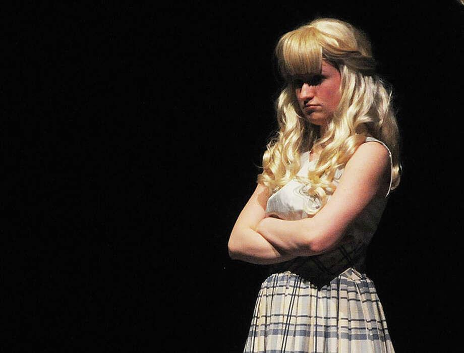 "Lauren Madden as Amber Tuesday night in a dress rehearsal for ""Hairspray"" at Norwalk High School. Hour photo/Matthew Vinci"