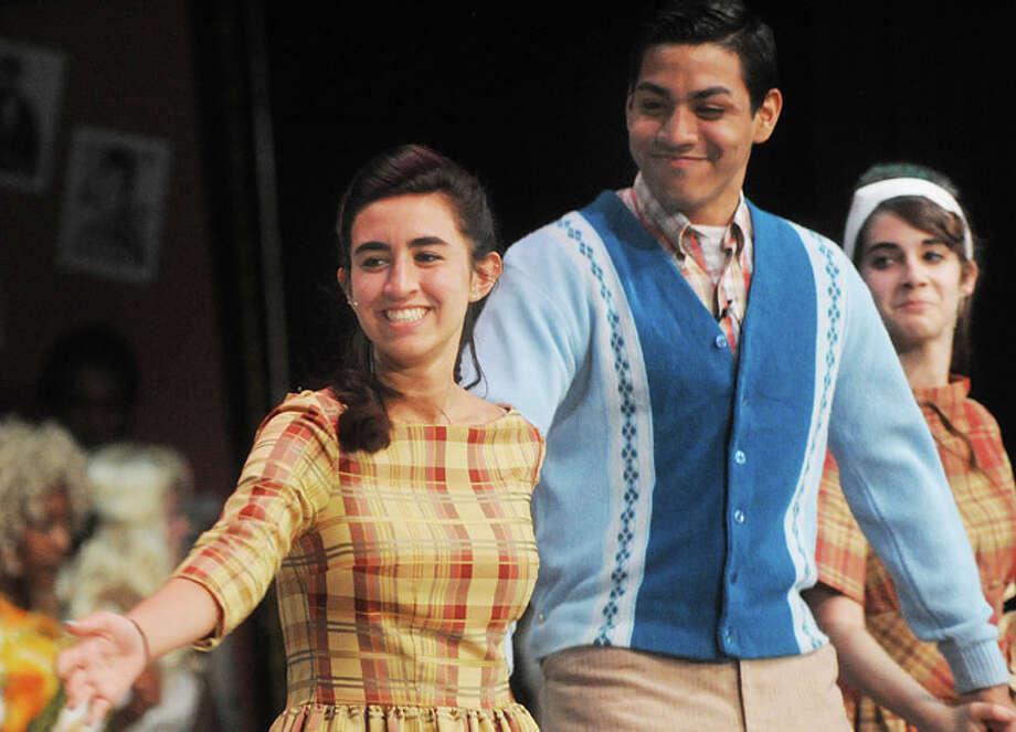 "Toni ann Mattera and Sergio Mandujano as corny collins dancers Tuesday night in a dress rehearsal for ""Hairspray"" at Norwalk High School. Hour photo/Matthew Vinci"