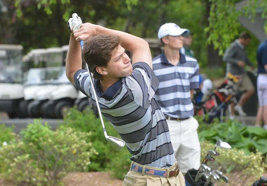 Hour Photo/Alex von Kleydorff Wilton's Kyle Jonas tees off vs Norwalk