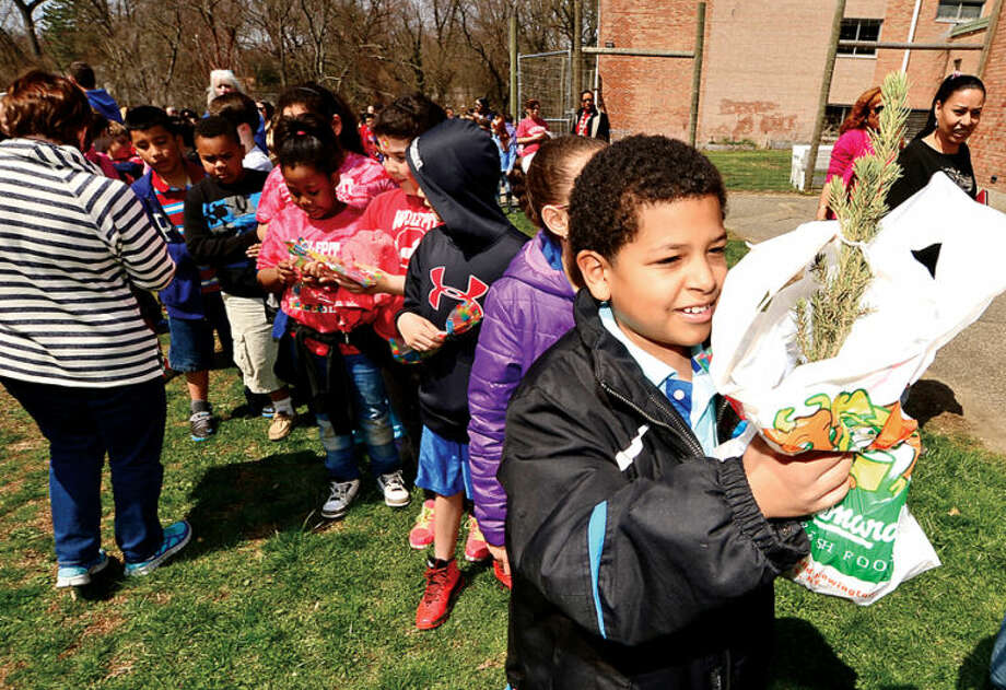 Hour photo / Erik Trautmann Yasset Collado receives a sapling as The Norwalk Tree Advisory Committee, the Norwalk Tree Alliance and the Norwalk Public Schools conduct an Arbor Day Celebration at Wolfpit Elementary School Friday. The program featured a proclamation from Mayor Harry Rilling, remarks by Schools Superintendent Dr. Manuel Rivera, poster contest prizes and the planting of a tree.