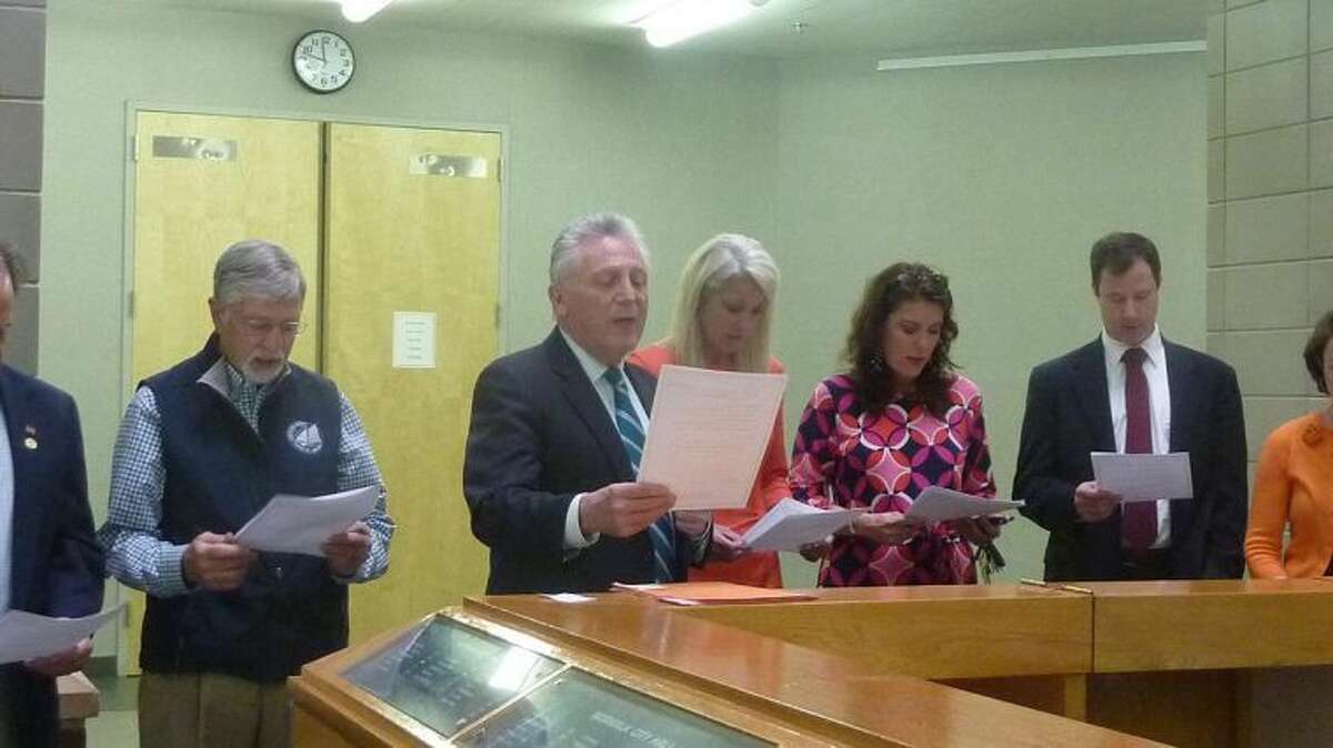 Contributed photo Mayor Harry Rilling, along with other Norwalk officials, honored Stand Against Racism Friday at City Hall. Norwalk is taking the annual YWCA pledge against racism, promising to remain vigilant in the fight against racism.