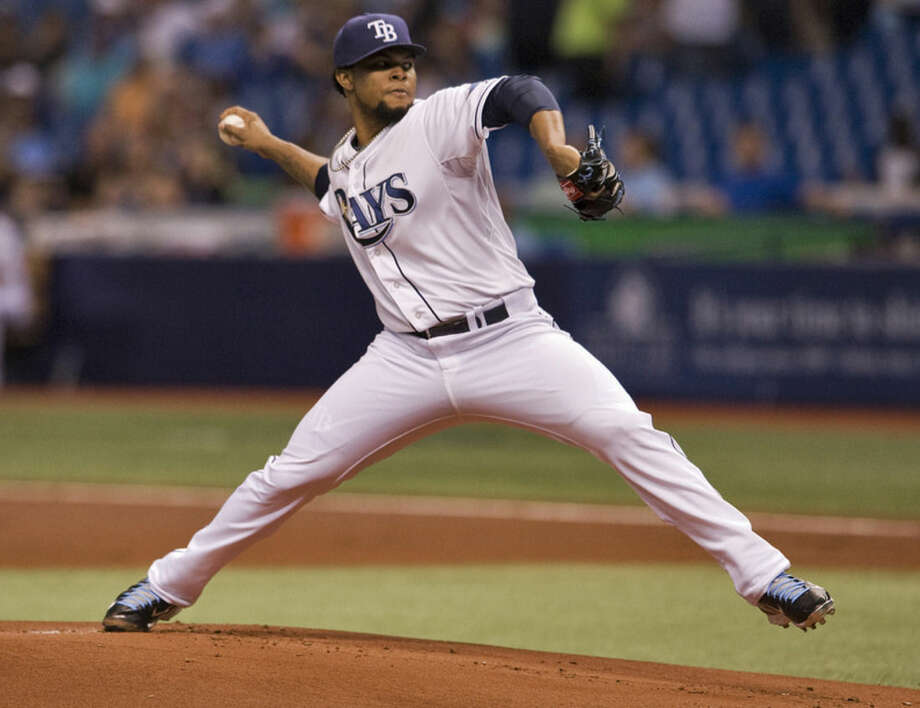 Tampa Bay Rays starter Alex Colome pitches against the New York Yankees during the first inning of a baseball game Monday, May 11, 2015, in St. Petersburg, Fla. (AP Photo/Steve Nesius)