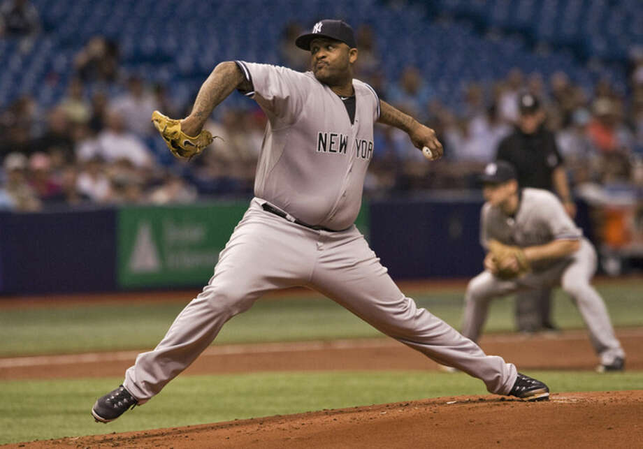 New York Yankees starter CC Sabathia pitches against the Tampa Bay Rays during the first inning of a baseball game Monday, May 11, 2015, in St. Petersburg, Fla. (AP Photo/Steve Nesius)