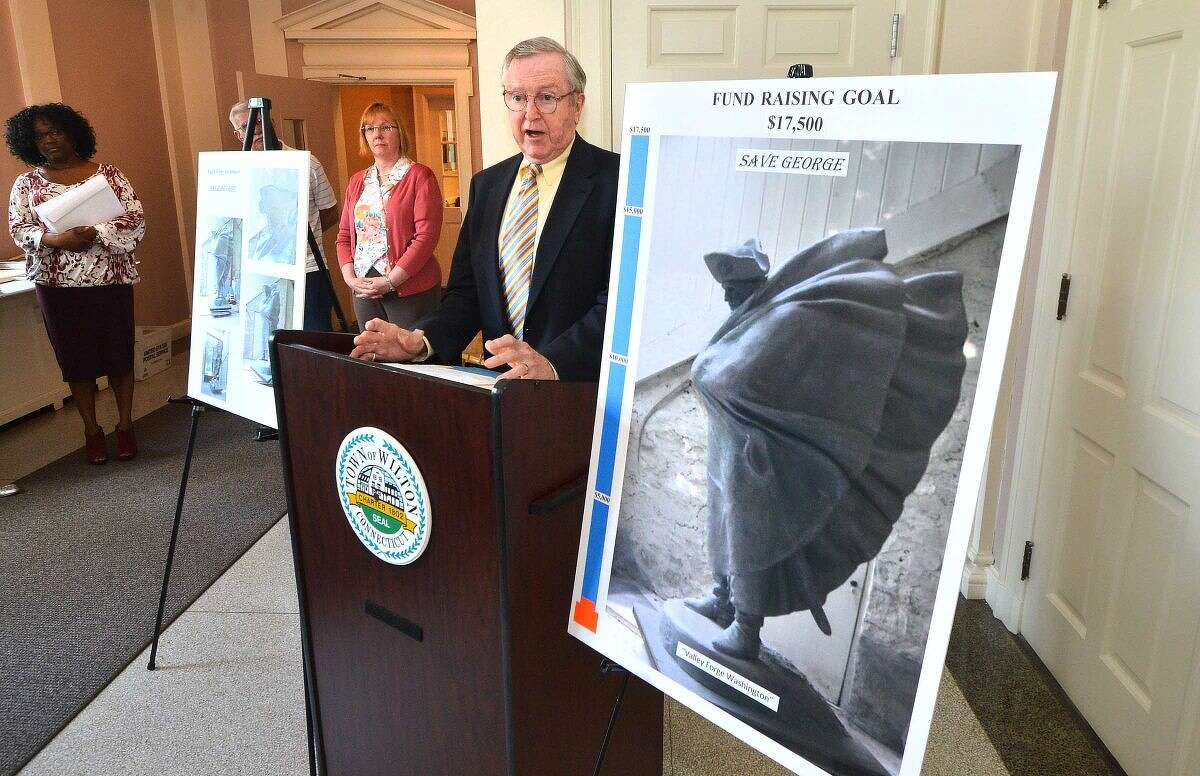 First Selectman Bill Brennan announces plans for the town to restore and install a statue of George Washington at Valley Forge by famed artist Gifford Proctor.