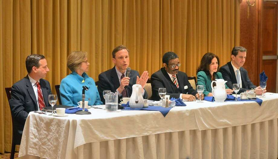 Hour Photo/Alex von Kleydorff State Rep. Fred Wilms one of the panelists during The Greater Norwalk Chamber of Commerce Legislative Breakfast Tuesday morning