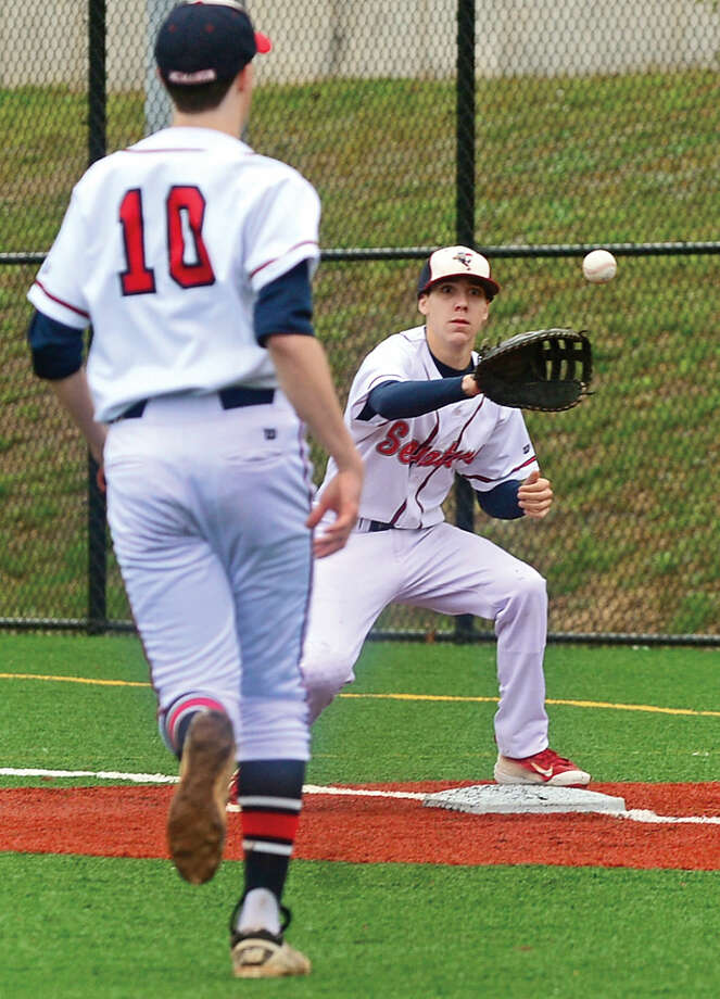 Fairfield Warde High School baseball team plays Brien McMahon in FCIAC baseball Saturday May 7, 2016, in Norwalk, Conn.