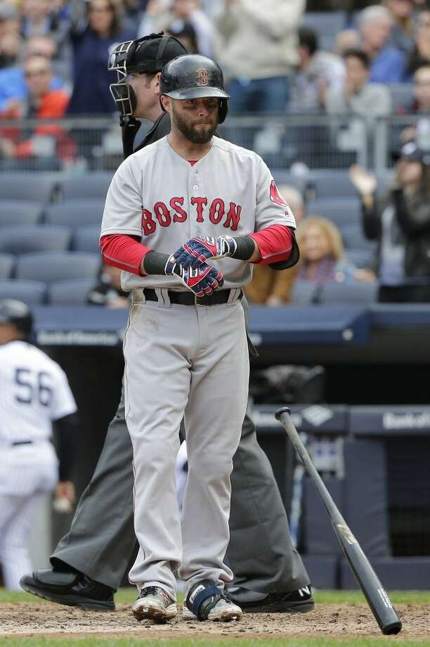 Boston Red Sox's Dustin Pedroia reacts after striking out during the eighth inning of a baseball game against the New York Yankees Saturday, May 7, 2016, in New York. (AP Photo/Frank Franklin II)