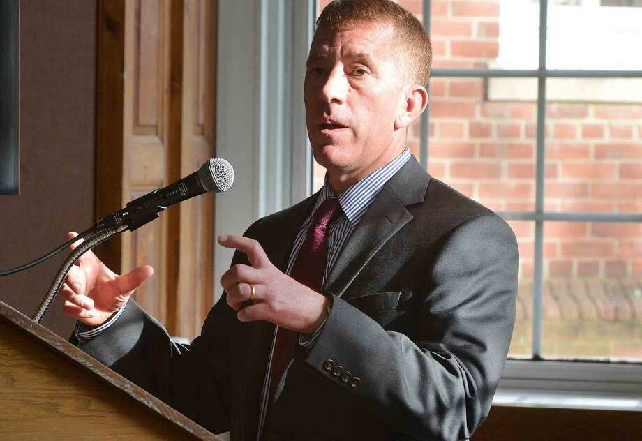 James Fallon, Manager of Facilities and Transit with CTDOT. answers a question about the life cycle cost of the project, during a public information meeting at Norwalk City Hall and the Walk Bridge replacement project, in Norwalk Conn. May 11 2016