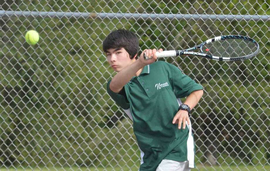 Norwalk's Taishi Hosokawa plays Brien McMahons Duly Bolivar in Boys singles tennis at Norwalk High School in Norwalk Conn. May 11, 2016