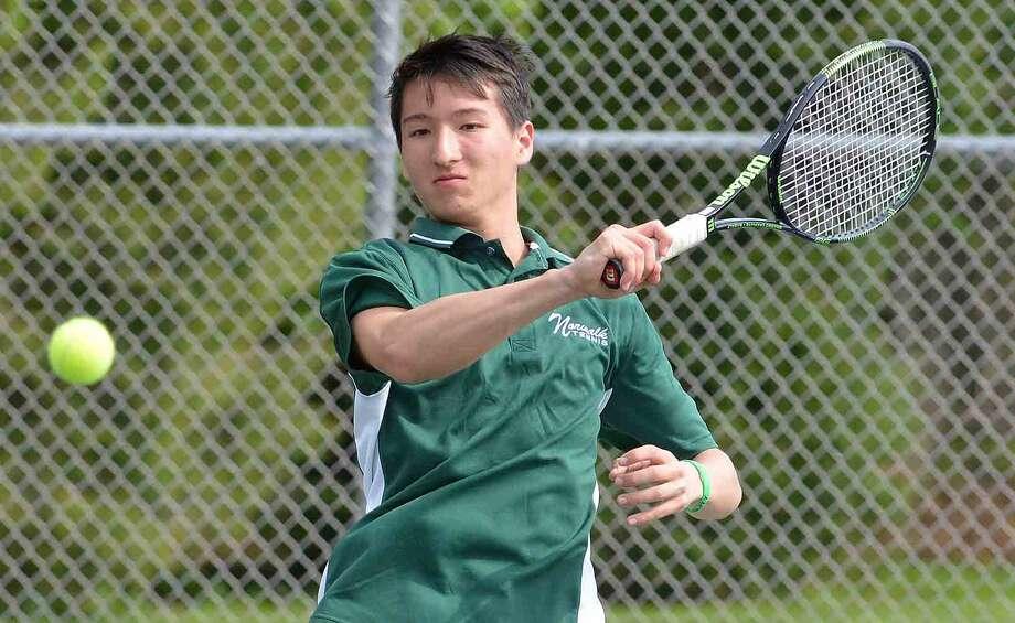 Norwalk's Seiji Hosokawa plays Brien McMahon's Luis Gonzalez in Boys singles tennis at Norwalk High School in Norwalk Conn. May 11, 2016