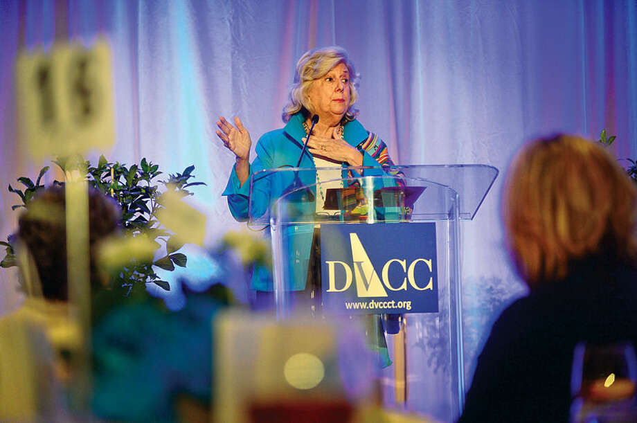 Introductory Speaker Linda Fairstein makes her remarks during the Domestic Violence Crisis Center 13th annual Voices in Courage Spring Luncheon Thursday at the Stamford Marriott.