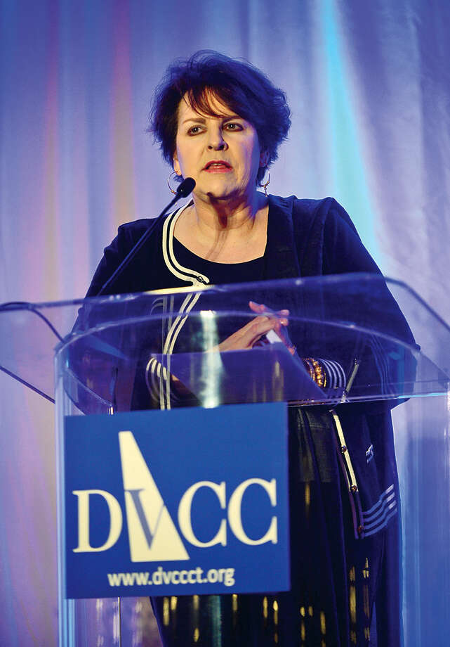 Domestic Violence Crisis Center Executive Director, Rachelle Kucera Mehra, make her remarks during the DVCC 13th annual Voices in Courage Spring Luncheon Thursday at the Stamford Marriott.