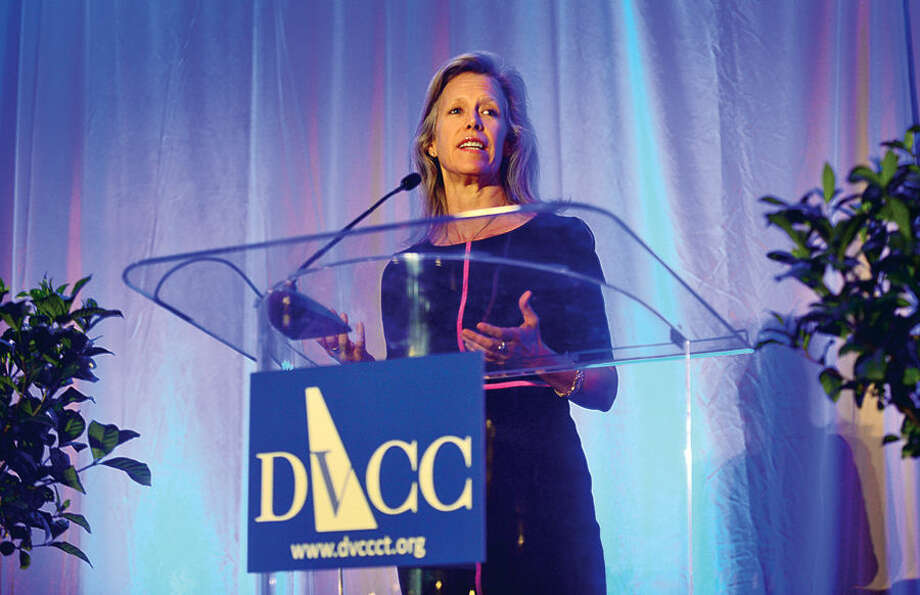 """Leslie Morgan Steiner, businesswoman and domestic violence survivor whose memoir """"Crazy Love"""" candidly describes her journey through and escape from an abusive marriage, give her keynote address during the Domestic Violence Crisis Center 13th annual Voices in Courage Spring Luncheon Thursday at the Stamford Marriott."""