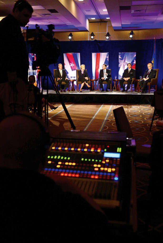 Hour photo / Erik Trautmann Republican gubernatorial candidates; Shelton mayor Mark Laurettis Avon attorney Martha Dean, State Sen. John McKinney, West Hartford Town Councilman Joe Visconti and Danbury mayor Mark Boughton participate in The Business Council of Fairfield County GOP pre-convention debate at the Stamford Sheraton Wednesday morning.