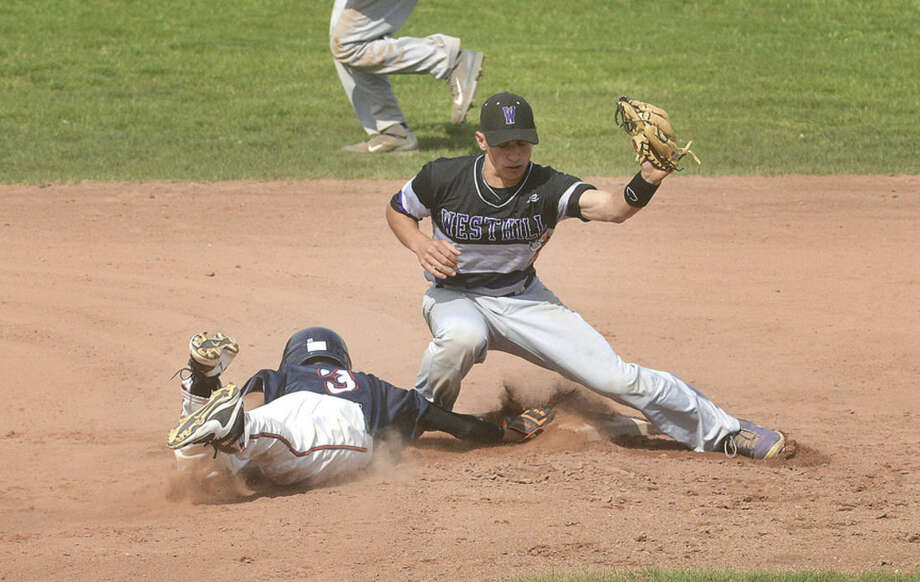 Hour photo/Alex von KleydorffBrien McMahon's Wady Almonte (3) makes it back to second base on a pick-off attempt as Westhill's Johhny Spoto looks to make the tag.
