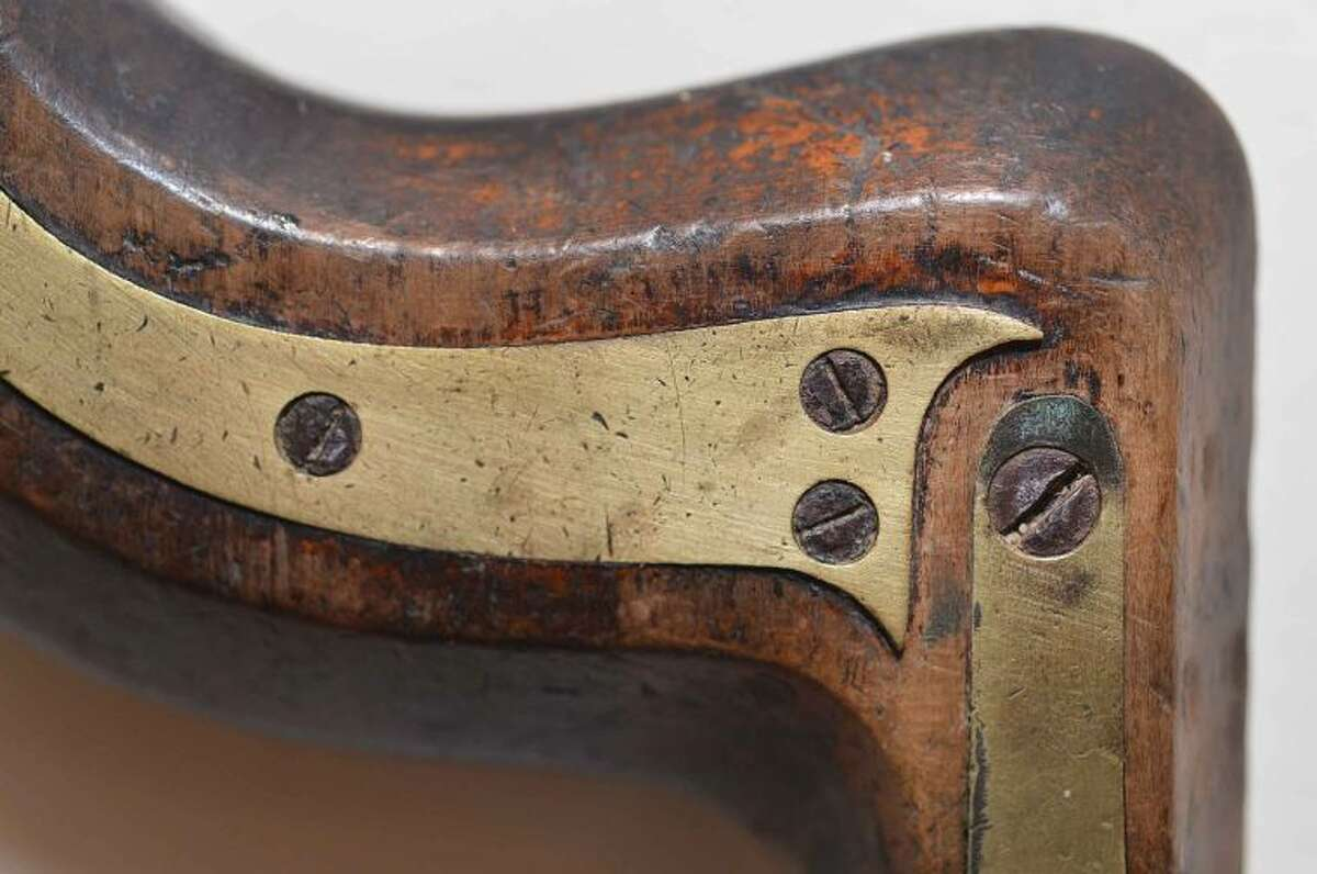 Detail from an Copper Clad English Brace, part of the Walter Smith collection of tools on display at Changing Times exhibit at The Wilton Historical Society.