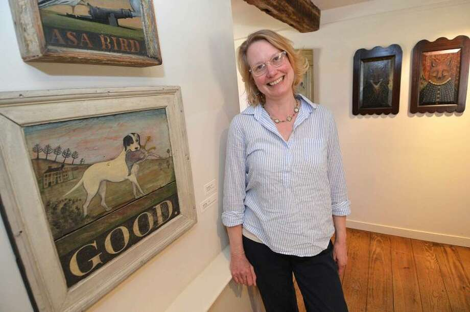 Heidi Howard, maker and painter, exhibits in the Sloane Gallery at Wilton Historical Socety.