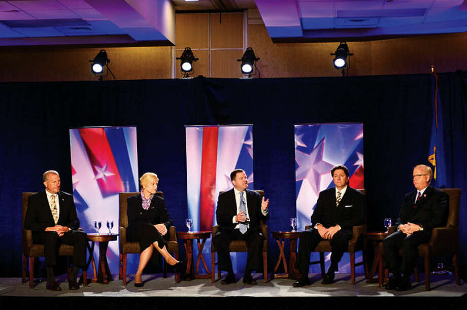 Republican gubernatorial candidates: Shelton Mayor Mark Lauretti, Avon attorney Martha Dean, state Sen. John McKinney, West Hartford Councilman Joe Visconti and Danbury Mayor Mark Boughton participate in The Business Council of Fairfield County GOP pre-convention debate in Stamford Wednesday morning.