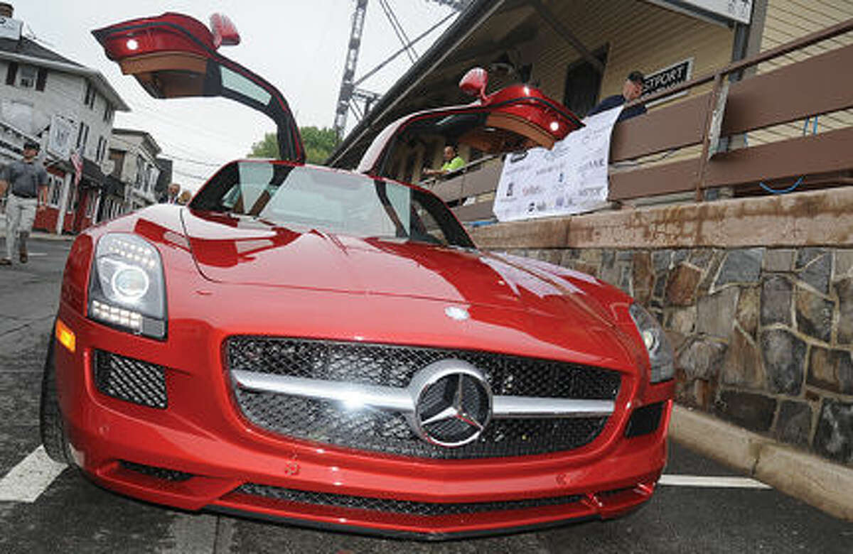 A new Mercedes Benz on display Sunday at the Westport Weston Chamber of Commerce's first Concours d'Caffeine, gathering of classic cars. Hour photo/Matthew Vinci
