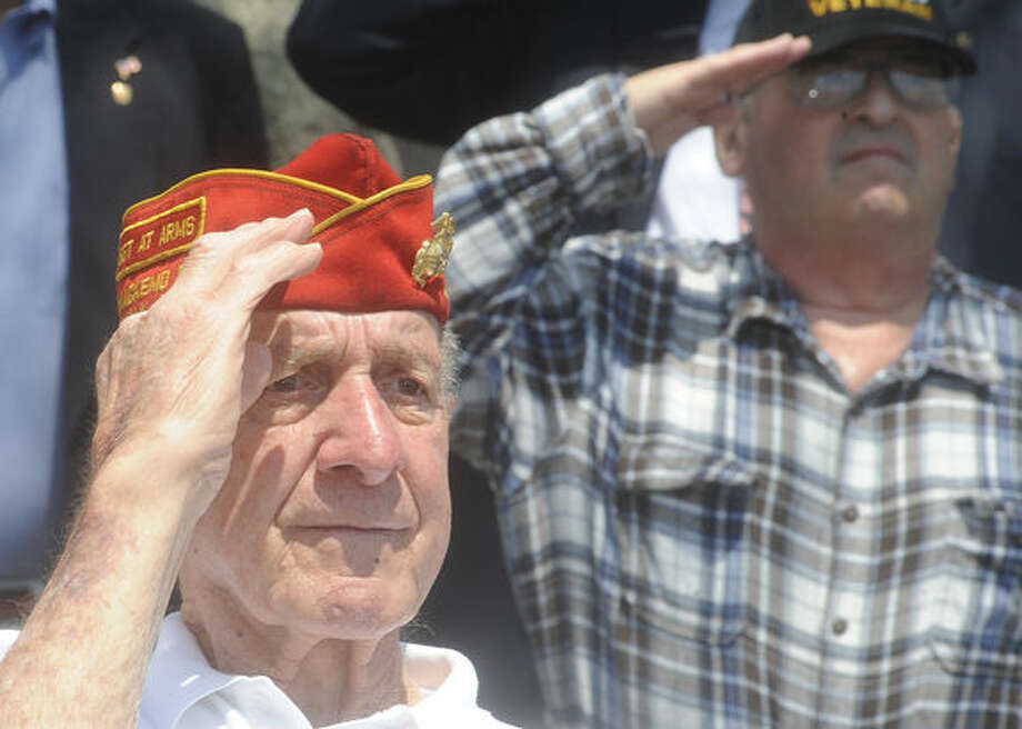 World War II Marine veteran Joe Lametta Sunday at Calf Pasture Beach in Norwalk for the annual Shea- Magrath Memorial Ceremony. Hour photo/Matthew Vinci