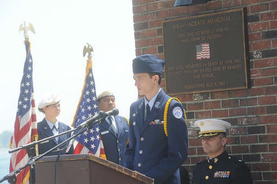Cadet Devon Barker Norwalk HS Air Force JROTC Sunday at Calf Pasture Beach in Norwalk for the annual Shea- Magrath Memorial Ceremony. Hour photo/Matthew Vinci