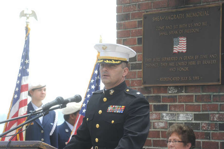 Remarks by Lt. Col. Tom Adams Sunday at Calf Pasture Beach in Norwalk for the annual Shea- Magrath Memorial Ceremony. Hour photo/Matthew Vinci