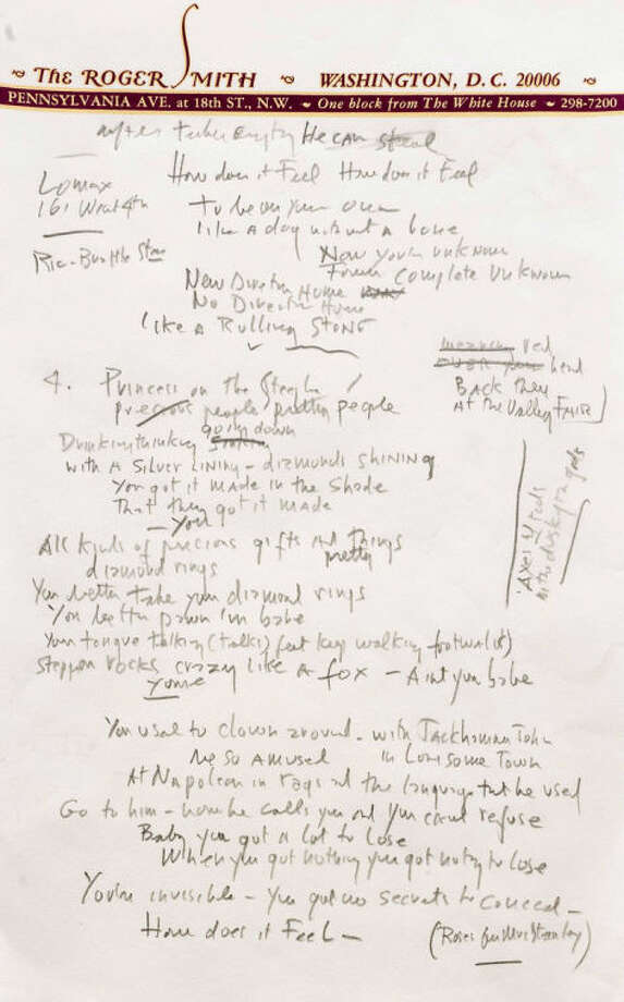 "This undated photo provided by Sotheby's shows a page from a working draft of Bob Dylan's ""Like a Rolling Stone,"" one of the most popular songs of all time. The draft, in Dylan's own hand, is coming to auction in New York on June 24, 2014 where it could fetch an estimated $1 million to $2 million. Sotheby's says it is ""the only known surviving draft of the final lyrics for this transformative rock anthem."" (AP Photo/Sotheby's)"