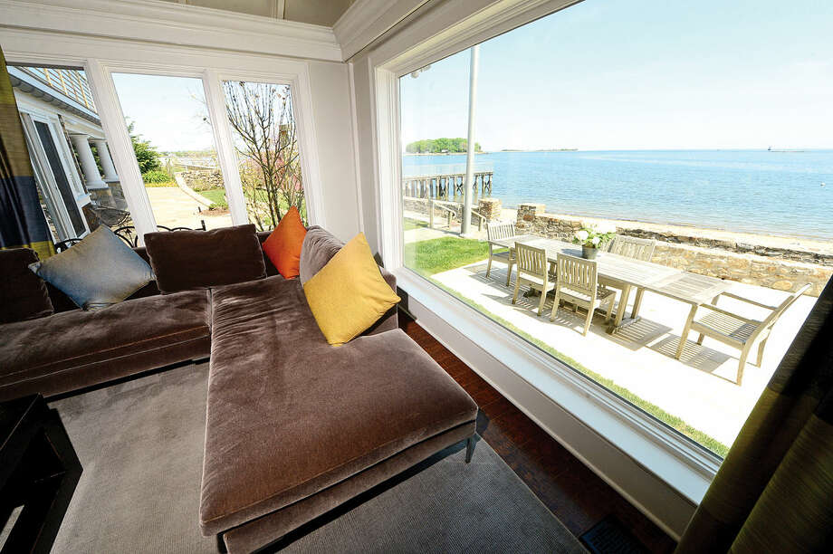 The 6 bedroom beachfront home at 2 Shorehaven Road in Norwalk, Conn. on Thursday May 12, 2016, borders Calf Pasture Beach and is on the market for $6.45 million.