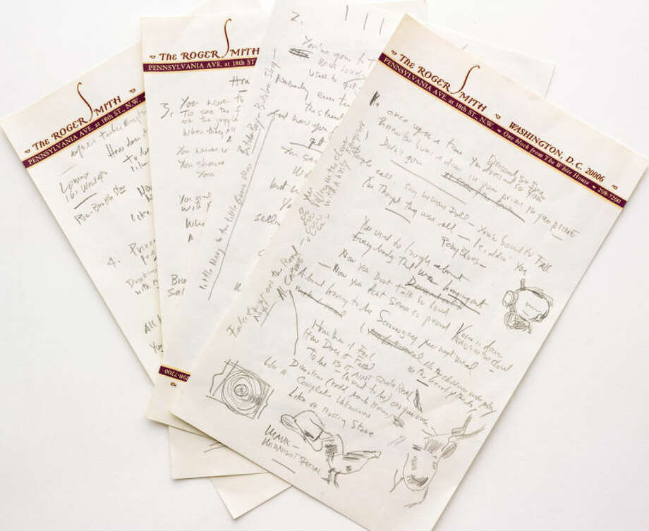 """This undated photo provided by Sotheby's shows a working draft of Bob Dylan's """"Like a Rolling Stone,"""" one of the most popular songs of all time. The draft, in Dylan's own hand, is coming to auction in New York on June 24, 2014 where it could fetch an estimated $1 million to $2 million. Sotheby's says it is """"the only known surviving draft of the final lyrics for this transformative rock anthem."""" (AP Photo/Sotheby's)"""